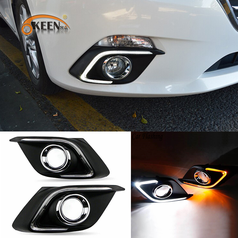 OKEEN 2pcs DRL for Mazda 3 Alexa 2017 2018 Daytime Running Light White Turn Signal Light Amber Fog Lamp Wholesale Free Shipping okeen 2pcs daytime running light for honda grace city 2014 2015 2016 drl white driving lamp amber turn signal light fog lamp 12v