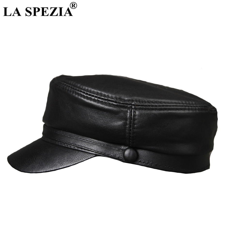 LA SPEZIA Black Army Hat Women Genuine Leather Casual Military Caps Men  Vintage Real Leather Luxury Brand Classic Flat Top Caps-in Military Hats  from ... a46f68d92c00