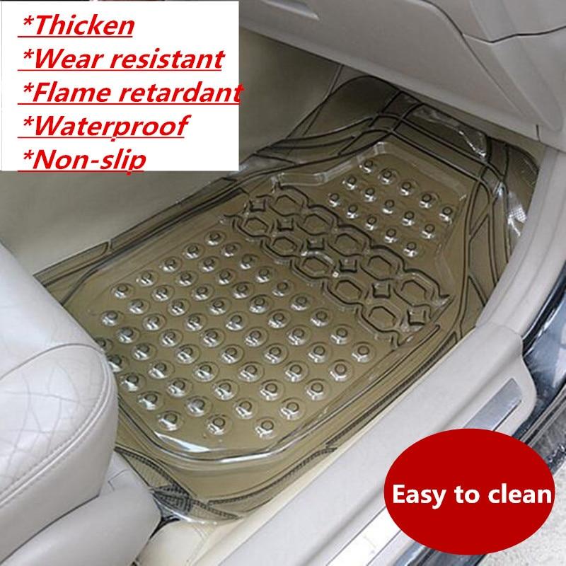 Free Shipping 1 PC Car Protection Anti dirty PVC Pad Universal Cut Rubber Mat Plastic Mats Main Driver Seat Foot Mat Footed
