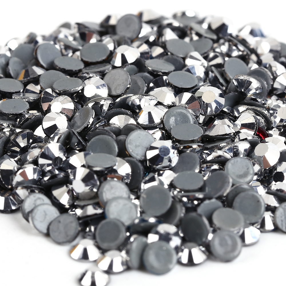 AAAA+ Quality Silver Hematite DMC Hotfix Rhinestones  ss6 ss10 ss16 ss20 ss30 Iron On Flatback Rhinestones For Luxury Dress
