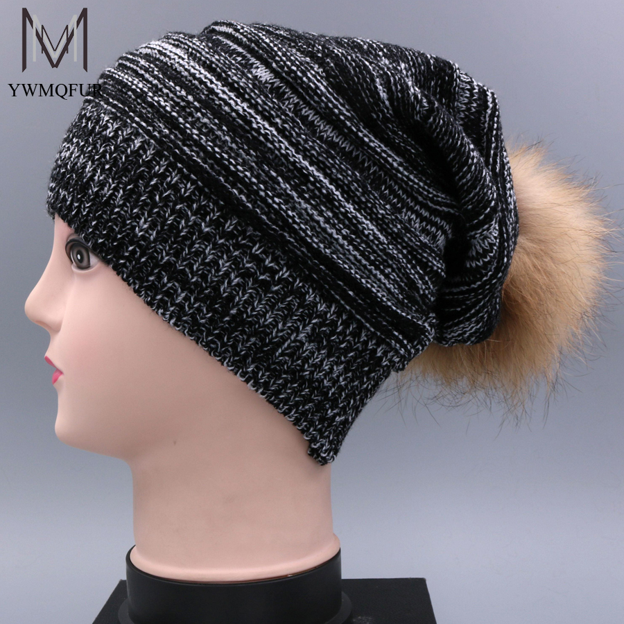 YWMQFUR 2017 New Fashion Winter Fur Hats For Women Ear Protect Wool Knitted Caps Women 15cm Fur Ball Beanies H75 4pcs new for ball uff bes m18mg noc80b s04g