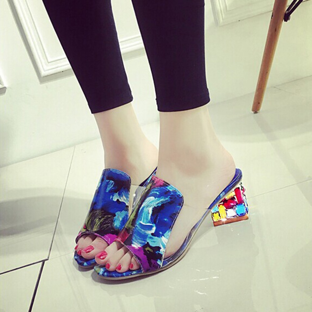 Fashion Rhinestone Sandals Women Slippers Fish Head Diamond Yards Summer Sandals Thick High Heels Female Sandals Shoes OR643455 slope with super high heels 14cm platform shoes sandals and slippers spring and summer fish head thick crust waterproof shoes