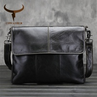 Vintage 2015 Cow Genuine Leather Messenger Bags For Men Handbags Medium Size Satchels Oil Wax Leather