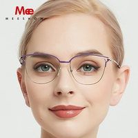 Meeshow titanium alloy glasses frame women cat eyes prescription eyeglasses optical myopia sun glasses ulatrligh spectacle frame