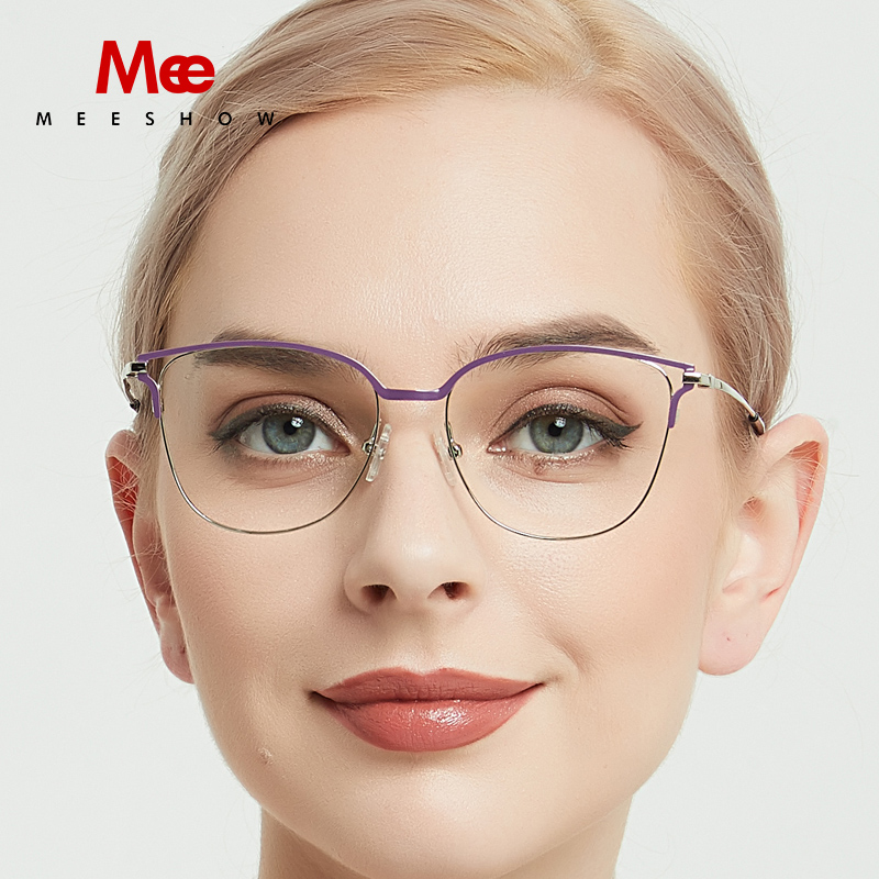Meeshow Titanium Alloy Glasses Frame Women Cat Eyes Prescription Eyeglasses Optical Myopia Sun Glasses Ulatrligh Spectacle Frame