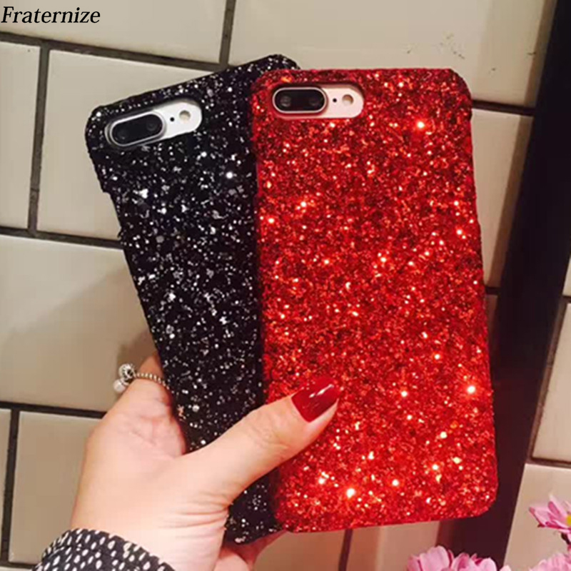 For iPhone X Luxury Bling Glitter Shining Flash Powder case For iPhone 7 Plus 6 6S 8 Plus 5 5S SE PC Hard Phone Back cover Capa