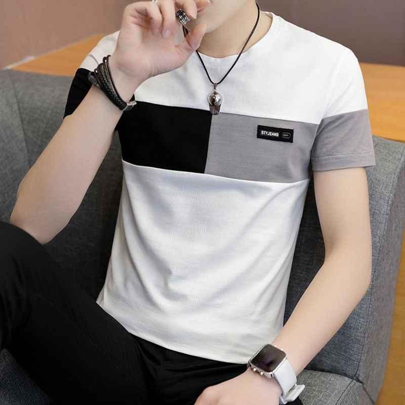2019 nouveaux hommes t-shirt décontracté à manches courtes hommes tops basiques t-shirts stretch t-shirt hommes vêtements chemise homme