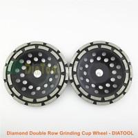 DIATOOL 2pcs 7 180MM Diamond Double Row Grinding Cup Wheel 7 Inch Twin Row Grinding Disc