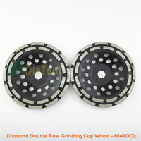 DIATOOL 2pcs 7 180MM Diamond Double Row Grinding Cup Wheel 7 Inch Twin Row Grinding Disc
