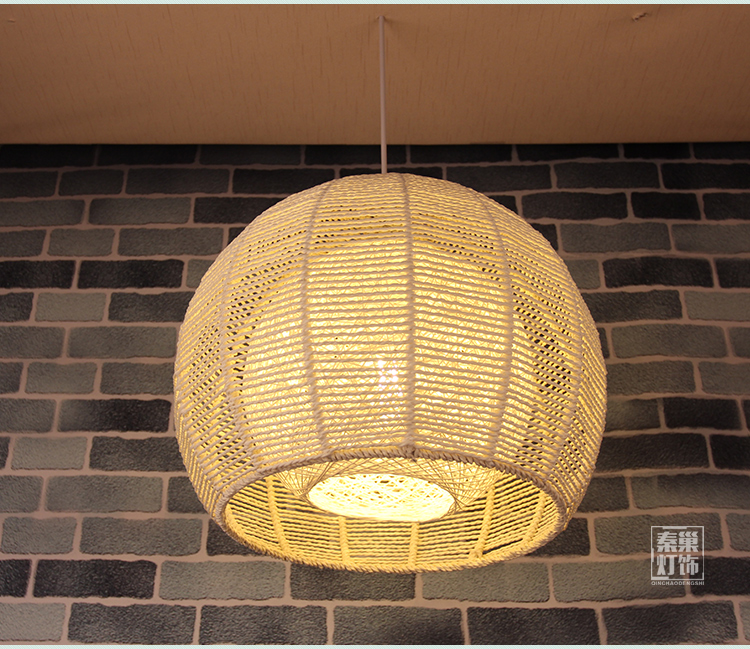 NEW Asian rattan Pendant Lights Japanese retro round rattan garden balcony l& shade bedroom study Restaurant Pendant l&s-in Pendant Lights from Lights ... : yellow pendant light shade - www.canuckmediamonitor.org