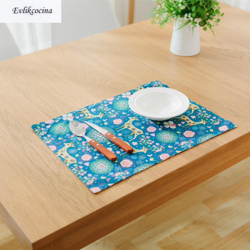 Free Shipping Deers Blue Placemat Dining Table Coaster Cloth Insulation Coffe Tea Cup Pad Kitchen Mantel Individual For Table