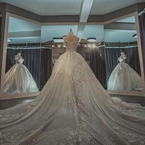 Image 5 - Áo CướI Năm 2020 Bà Giành Elelgant Nữ Tay Ngắn Chữ V Gợi Cảm Công Chúa Phối Ren Sang Trọng Thêu Bling Bling Áo Váy F