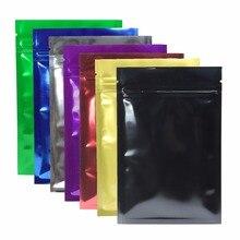 Various of Sizes Tear Notch Aluminum Foil Zip Lock Bag Heat Sealing Storage Bags Black/ Blue/ Silver/ Green/ Red/ Gold/ Purple