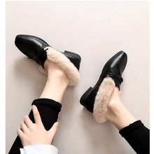 Women flats winter shoes fashion warm falts faux fur ladies zapatos de mujer chaussures femme sapato feminino