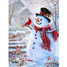 Winter scenery Snowman picture 3D diamond painting cross stitch DIY roumd  embroidery mosaic pattern home decoration