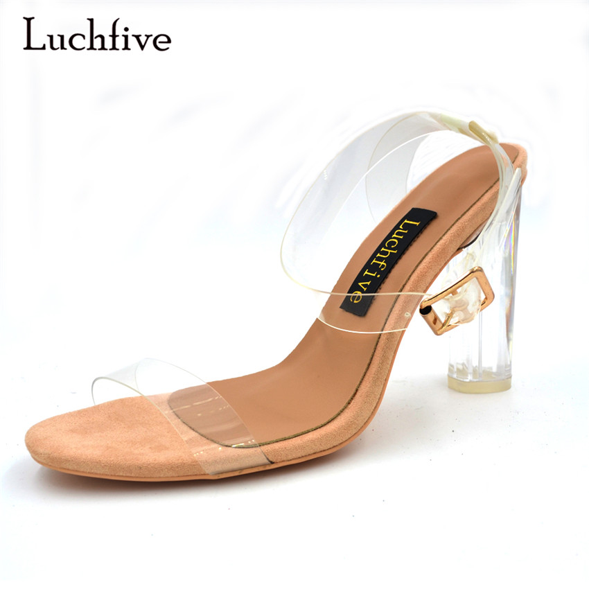 Luchfive 2018 PVC Jelly Sandals Crystal Open Toed High Heels Women Transparent Heel Sandals Slippers Discount Pumps plus size mini cup sublimation printer for multicolor st2105