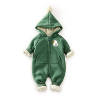 10 Degree Warm Fleece Baby Romper Hooded Newborn Clothes Bear Dark Pattern Baby Boy Girl Clothes