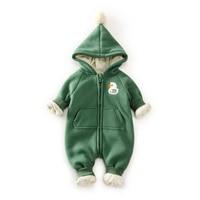 10 Degree Warm Fleece Baby Romper Hooded Newborn Clothes Bear Dark Pattern Baby Boy Girl Clothes