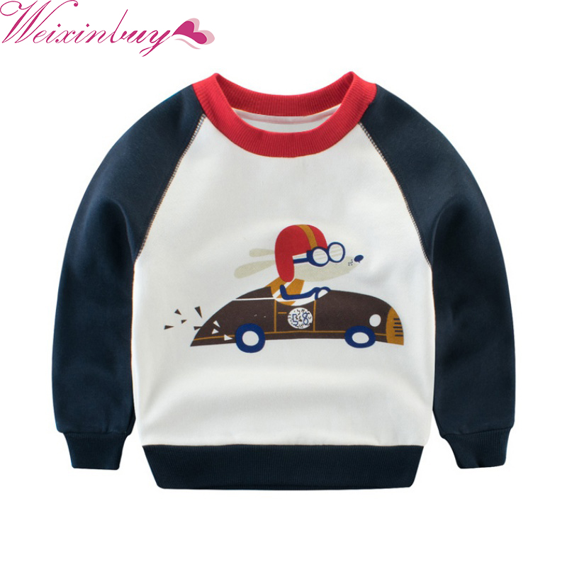 New kids Baby Boys Hot Selling Long Sleeves Cute Dog Drives Car Pattern Sweatshirts Children Kids Cotton Hoodies 2017