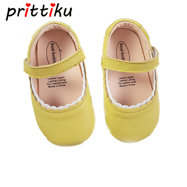 fe86f96c0fdd First Walker Baby Girls Shoes Newborn Kids Mary Jane Flats Infant Children  Genuine Leather Yellow Red