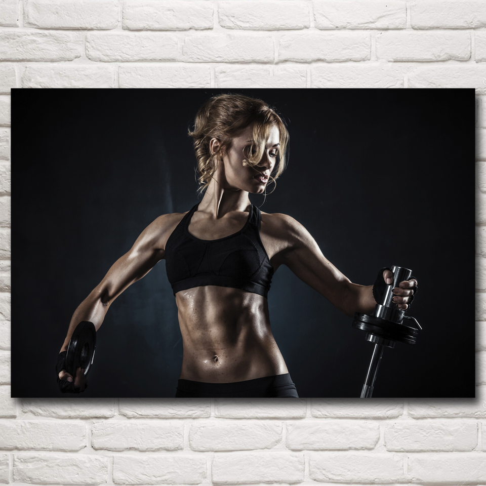 Sports fitness model bodybuilding art silk poster prints
