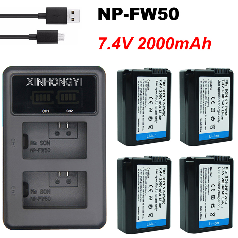 2000mAh NP-FW50 NP FW50 Battery + LED USB Dual Charger For Sony Alpha A6500 A6300 A7 7R A7R A7R II A7II NEX-3 NEX-3N NEX-5
