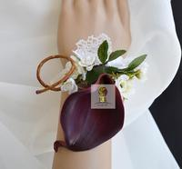 5Pcs/Lot Hand Made Top Quality PU Calla Lily Flower Wedding Party Prom Bridal Mother Bridesmaid Hand Wrist Flower Women Corsage