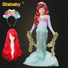 Autumn Girls Princess Ariel Cosplay Costume The Little Mermaid Dress Fantasy Kids Long Sleeve Christmas Halloween Party Dresses