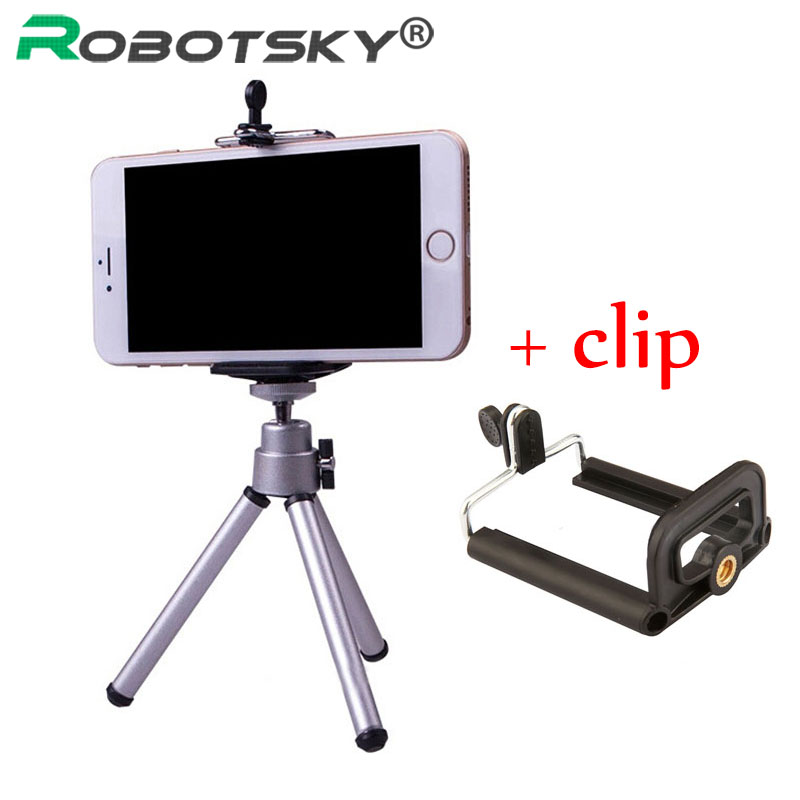 Mini Tripod Stand with phone Clip Bracket Holder Mount For iphone Samsung Mobile phone for Gopro Hero 5 4 3 2 Action camera