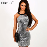 SIBYBO Glitter Gold Silver Sequin Sexy Bodycon Dress Women Elegant Off Shoulder Summer Evening Party Club