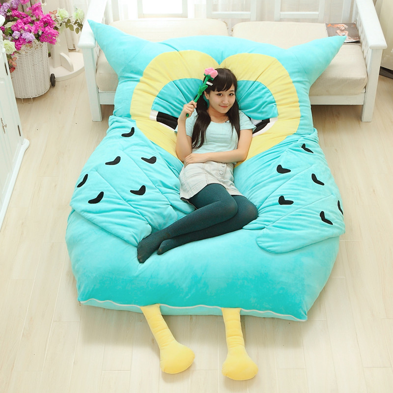 2017 New Cartoon Anime Owl With Filled Giant Sleeping Bag Sleep Sofa Mattress Plush Totoro Bed Tatami In Cushion Cover From Home