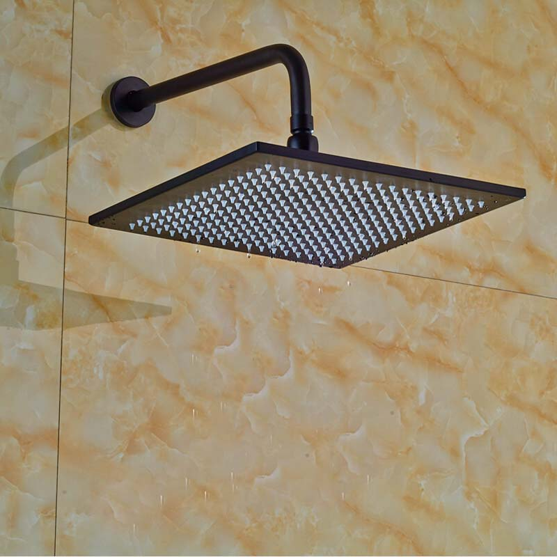 Wholesale And Retail Solid Brass Wall Mounted Shower Arm Square Shower Head Oil Rubbed Bronze Top Shower Sprayer led 10 rainfall oil rubbed bronze shower head round top sprayer w wall mount shower arm