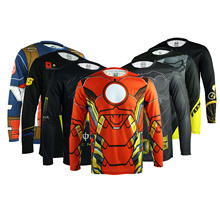 ARSUXEO 2016 Men Cycling Bike Bicycle Long Sleeves DH Downhill Mountain Jerseys Shirts Hulk Bat Spider Men Captain MTB Jersey