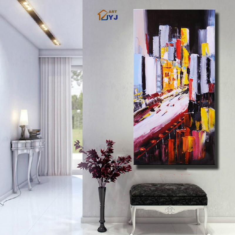 City New York Oil Painting On Canvas Wall Art For Living: Street Landscape JYJ ART Vivid Color New York City Pic