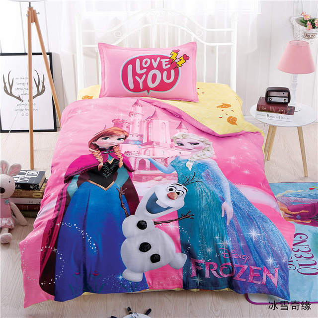 Disney Elsa And Anna Bedding Set Twin Size Duvet Cover For Kids Bedroom  Decor Cotton Bed