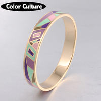 Elegant Classic Color Geometry Designs 12mm Width Bracelet Vintage Pattern Gold Plated Stainless Steel Bangles For