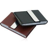 1pcs Aluminum Parts Cigar Cigarette Tobacco Case Holder Pocket Box New Arrival Storage Stainless Steel PU Card Case XN341