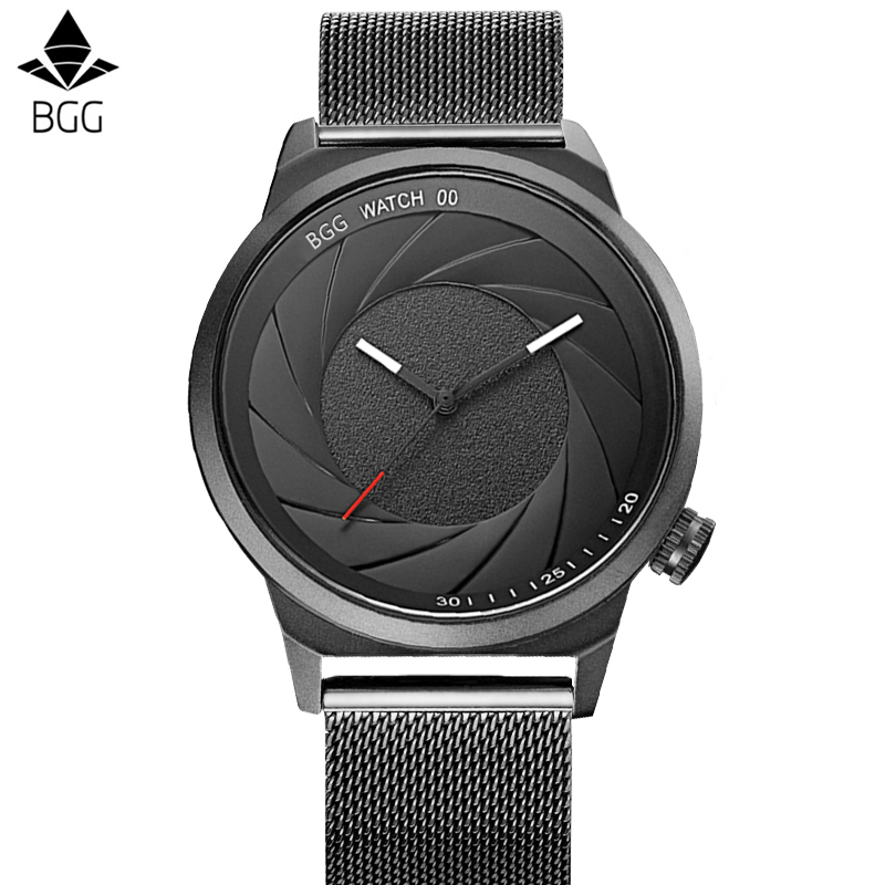 BGG New Creative Camera shutter Style Men Watch Top Brand Luxury Men Casual Sport Quartz Watches Men Business Waterproof relogio bgg brand creative two turntables dial women men watch stainless mesh boy girl casual quartz watch students watch relogio