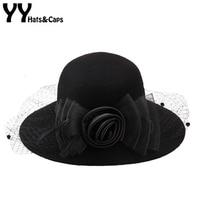 YY Audrey Hepburn Wool Fedora Elegant Dameshoeden Trilby Caps Vintage Felt Hats Winter Mesh Flower Church Hats Women Gorra 18113