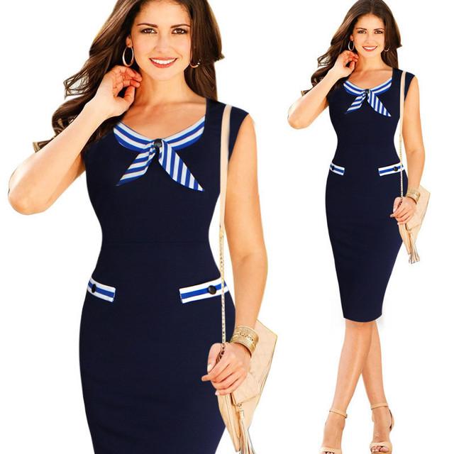 Brand new navy blue women work dress oficina de rayas más el tamaño 6xl verano vestidos bodycon vestidos del lápiz de las mujeres