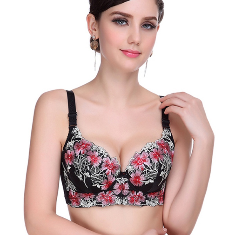 7111609b4d Women Sexy Smooth Embroidered Push Up Bra Underwired Side Support Super  Boost Plunge Bras