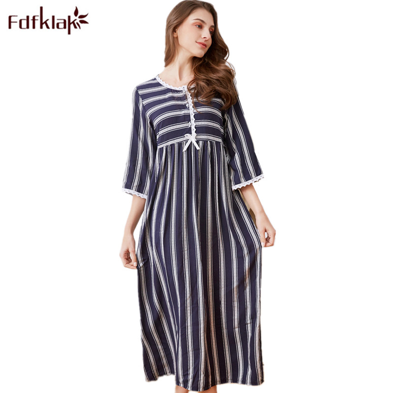 Fdfklak Spring Summer Nightgown Cotton Sleeping Dress Women Night Dress Sleepwear Long Nightgowns For Women Plus Size M-XXL F98 1
