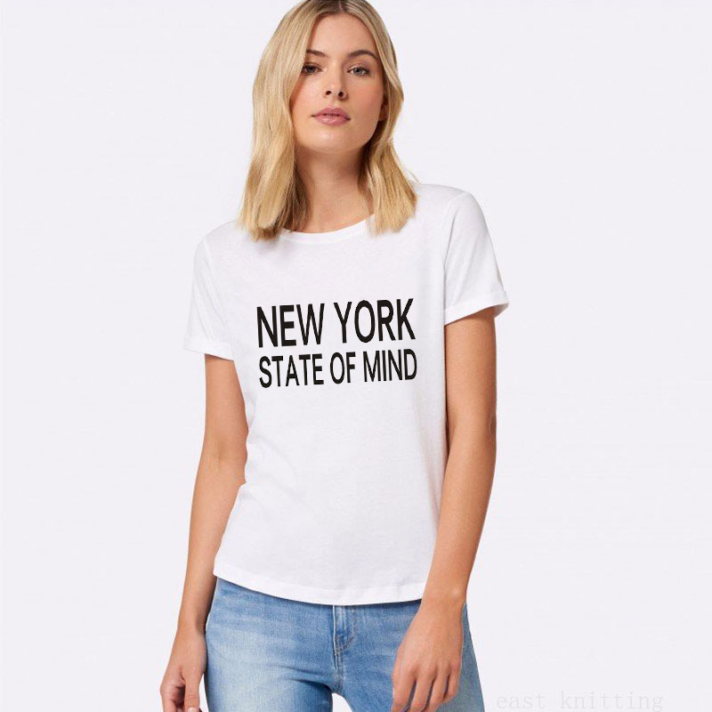 H650 Fashion Style Women O-neck Tops New York State Of Mind Print Female Casual T shirt