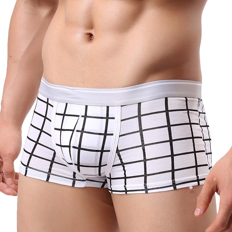Free shipping Boxers Underwear Men Brand Cotton Male Underpants White Comfortable Shorts Boxer Man grid Calzoncillos Hombre