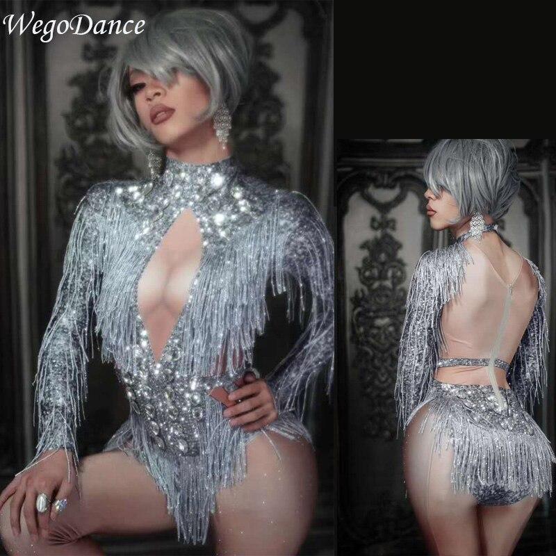 New Sparkly Silver Crystals Fringes Dance Costume Rhinestones Gloves Tassel Bodysuit Party Stage Wear Dance Show Sexy Leotard