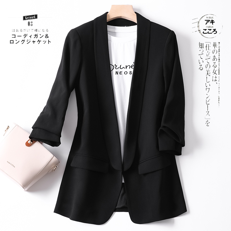 Shuchan Shawl Collar Woman Blazer 2019 3 4 Sleeve Summer Autumn Jacket Women Black Chaquetas Mujer Casual Solid Office Lady in Blazers from Women 39 s Clothing