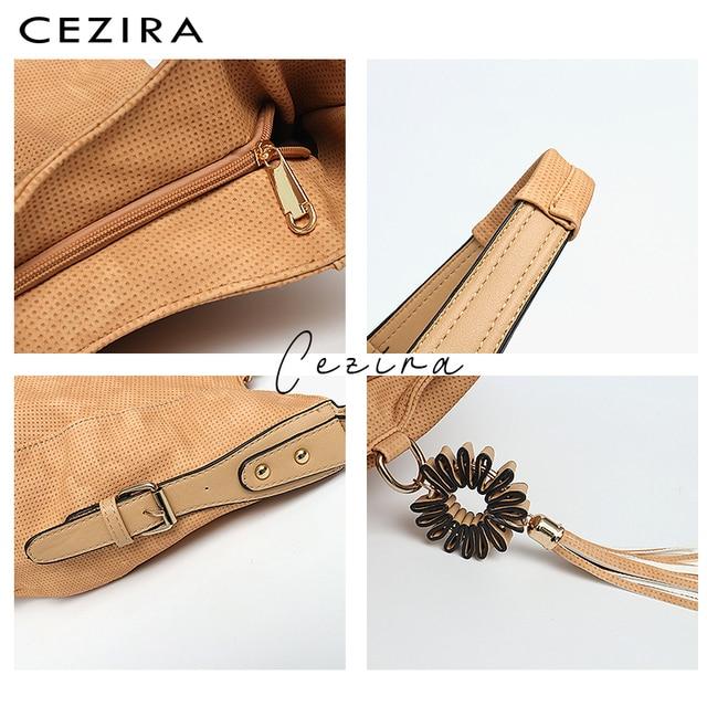 CEZIRA Womens Bag Single Shoulder Bag New Handbag of 2018 Flower Tassel Large Capacity Hobo Female Round Shoulder&Messenger Bag 3