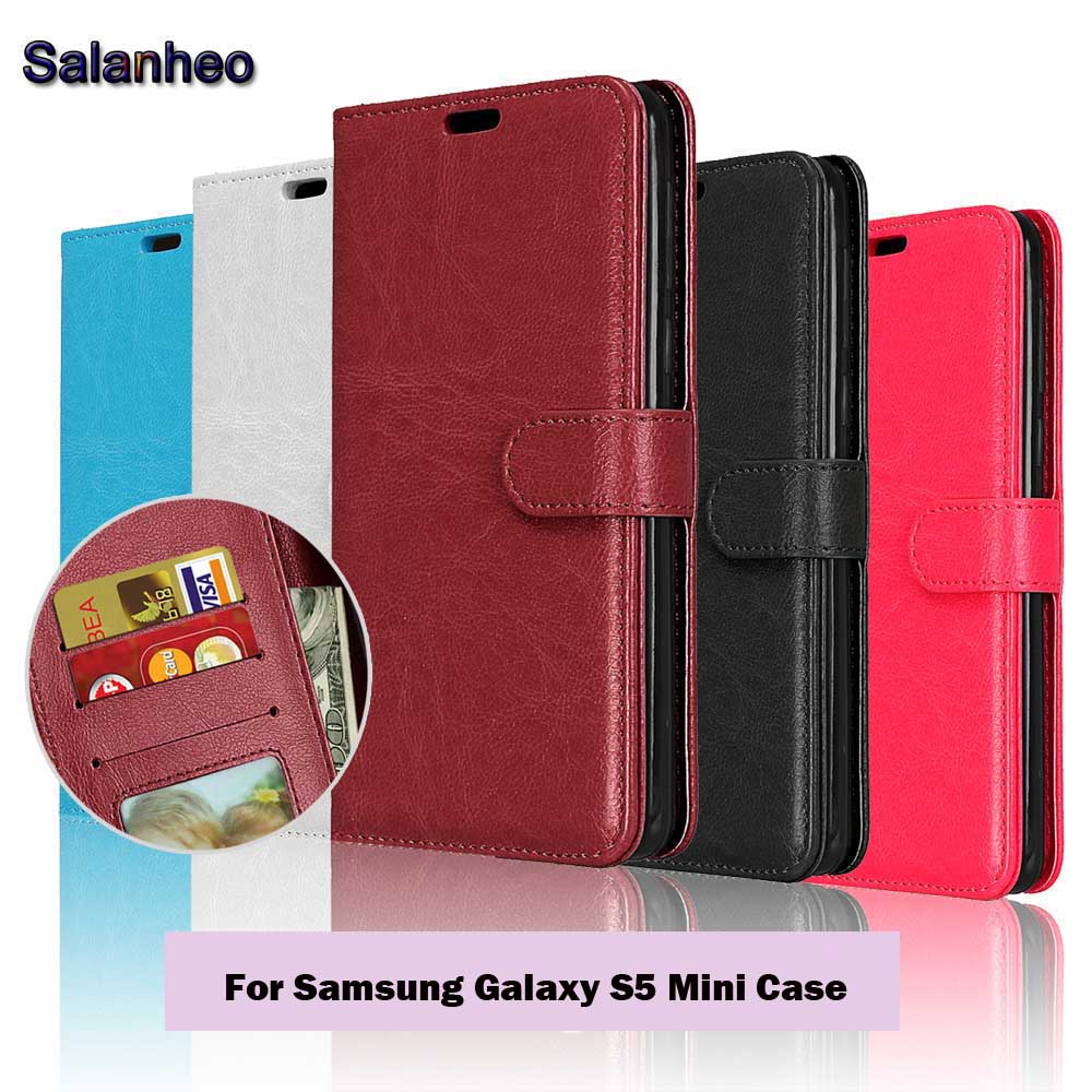 S5 Mini Luxury Phone Cases For Samsung Galaxy S5 Mini Case Flip Leather Wallet with Card Slot Stand Holder Cover Fundas