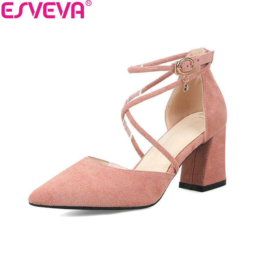 ESVEVA 2018 Women Pumps Ankle Strap Elegant Shoes Square High Heel Pointed Toe Cross-tied Shallow Wedding Women Shoes Size 34-40 esveva 2017 ankle strap high heel women pumps square heel pointed toe shoes woman wedding shoes genuine leather pumps size 34 39