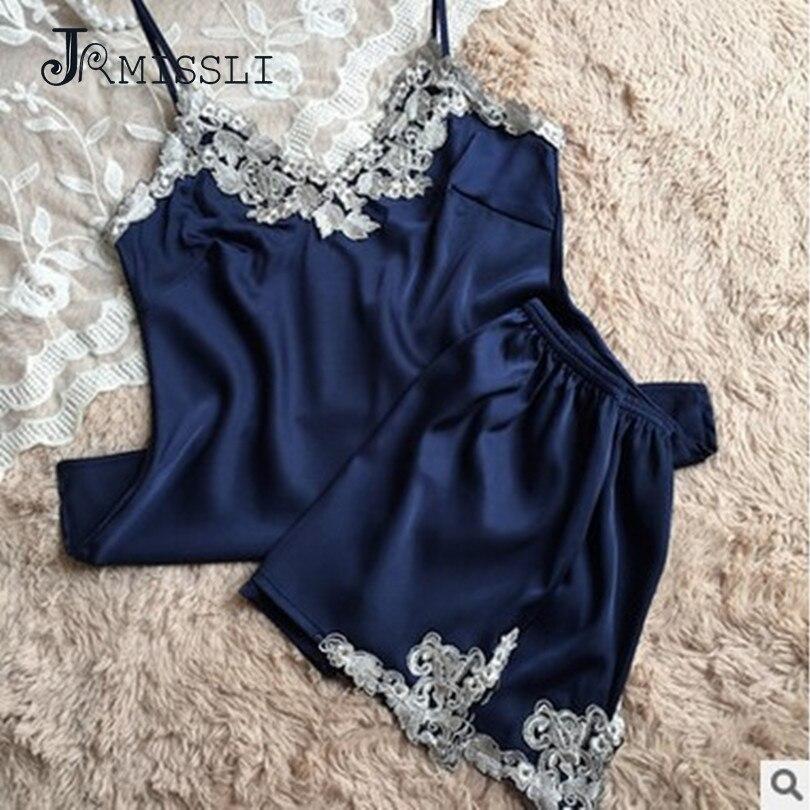 43847dcc125cd6 JRMISSLI panie Sexy Silk Satin piżama zestaw koronkowa komplet piżamy  piżama zestaw z dekoltem w kształcie litery v bielizna nocna lato domu  nosić odzież do ...